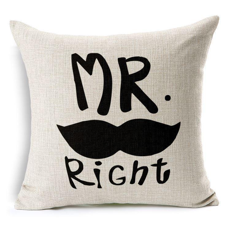 Mr.Mrs.Right Усы Губы Наволочка Дышащая Льняная Наволочка Наволочка для Свадебные Украшения Кровать
