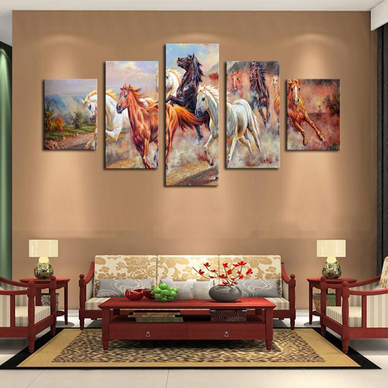 best living room art 2017 5 panel wall horses painting colorful 13812