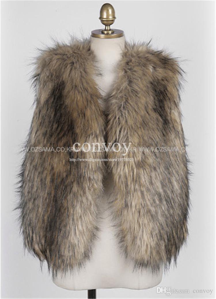 2015 delle donne faux pelliccia di volpe gilet di alta qualità breve vest gilet giacca cappotto senza maniche outwear giacca cappotto spedizione gratuita S-XXL WT166