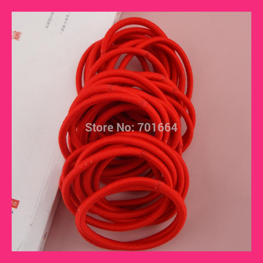 4mm Hot Red Elastic Ponytail Holders Children Hair Bands With Gluing  Connection  8a7ccc85093