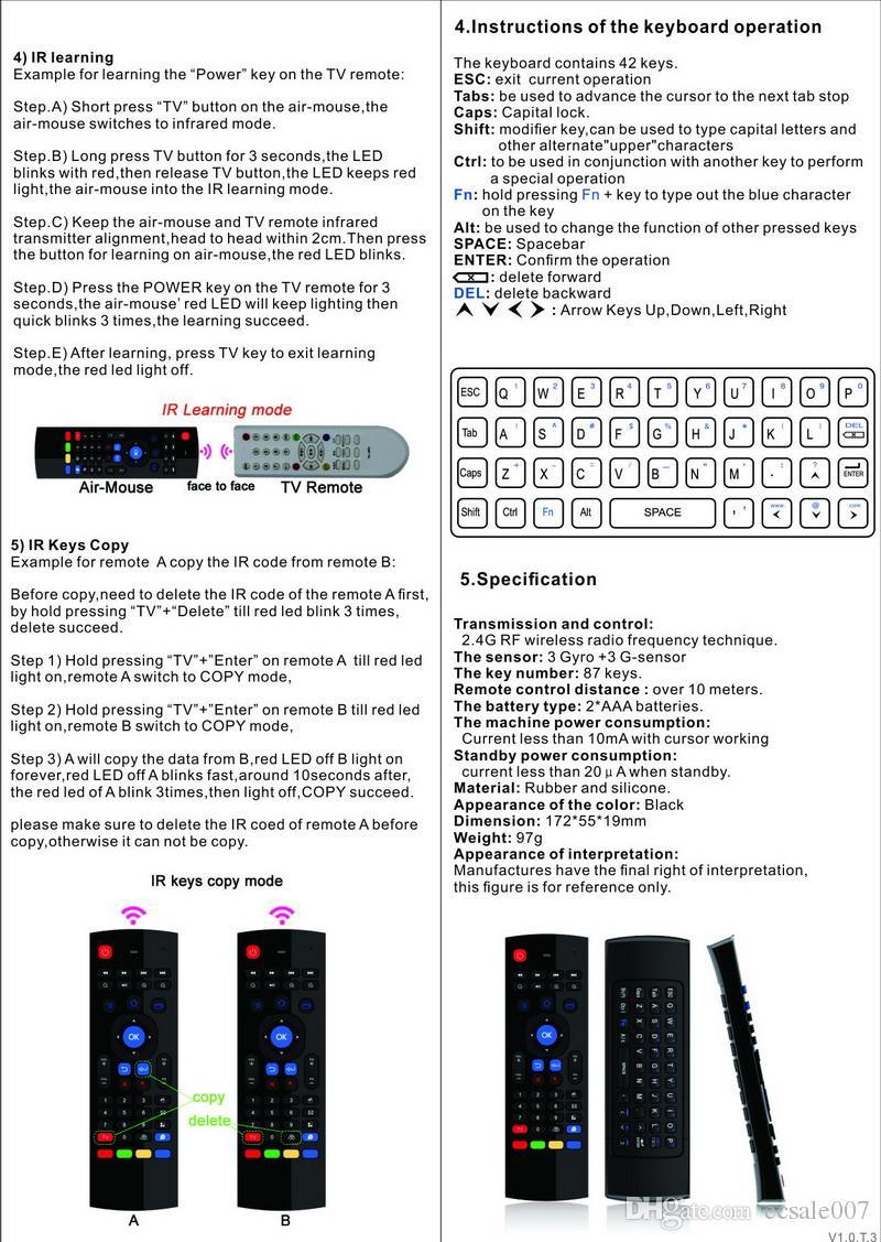 Nouvelle Arrivée 2.4GHz RF 2.4G Fly Air Souris T3 Clavier Sans Fil De Poche Qwerty À Distance Combo pour PC Android TV Box HTPC