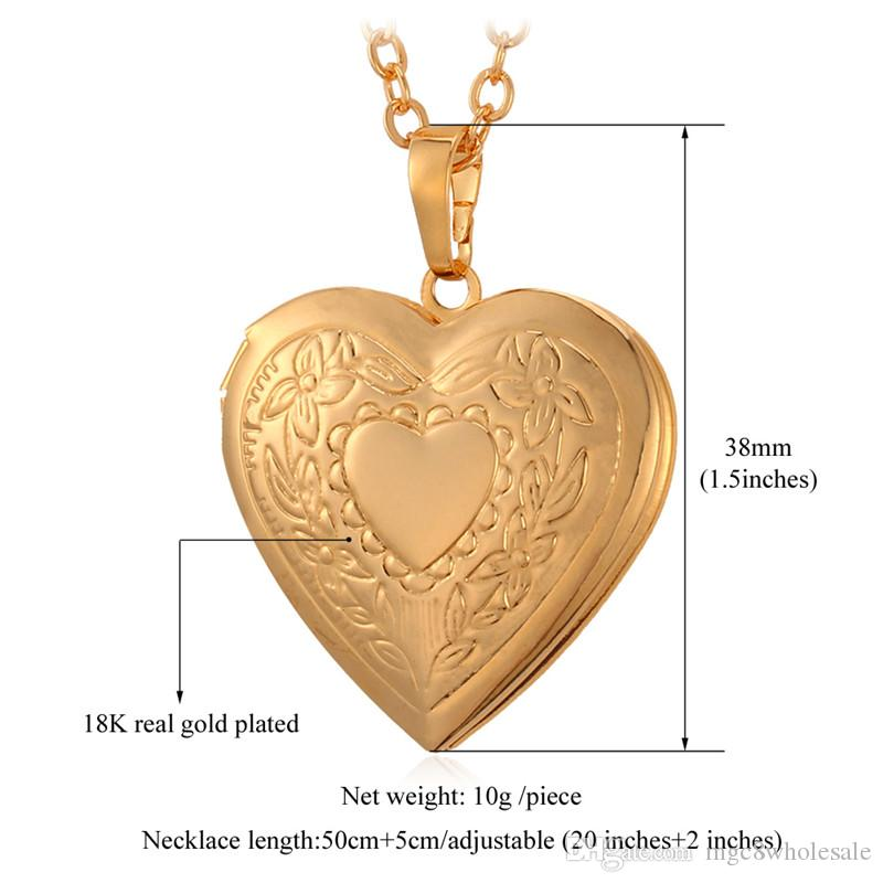 U7 Love Heart Pendant Necklace 18K Real Gold/Platinum Plated Fashion Women Jewelry Perfect Valentine Gift for Love