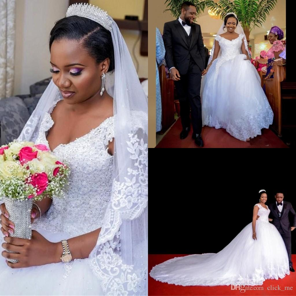Nigerian Wedding Gowns: Discount Wedding Dresses Nigerian V Neck Lace Crystals