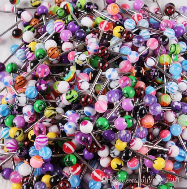 مختلط لون الاكريليك اللسان مسمار الدائري للنساء لون الحلوى ثقب اللسان ثقب حلقة الأزرار الحديد مجوهرات nibble BY