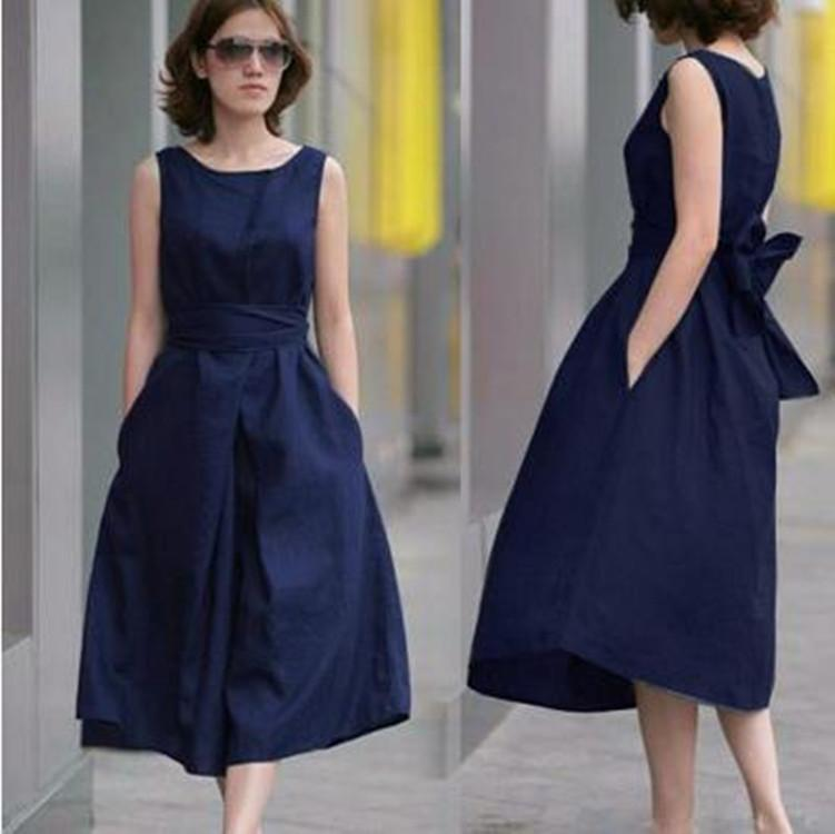 2015 new designer brand women dresses elegant linen dress for