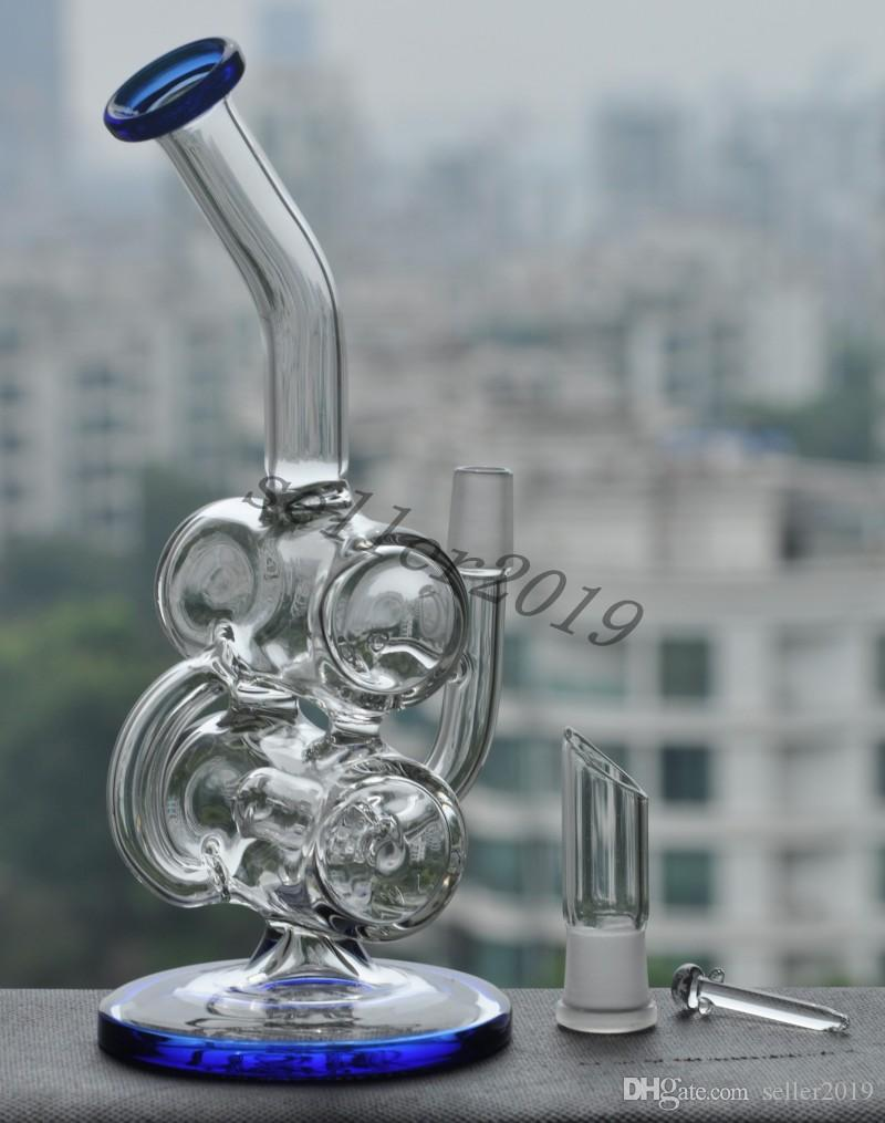 Bong!! New recycler glass bong with bowl and oil rig glass dome glass nail 14.4mm joint