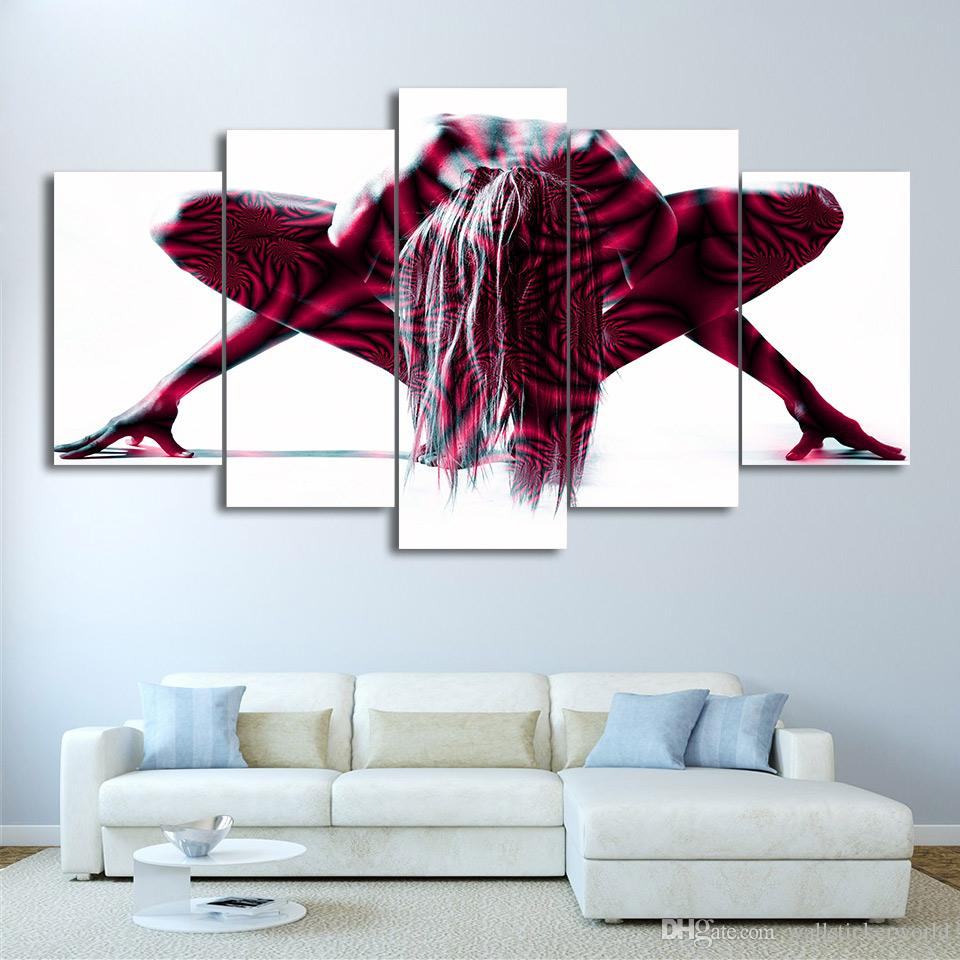 5 Panel Framed HD Printed Nude Woman Painted Body Poster Art Canvas Oil Painting Wall Pictures For Living Room Artwork