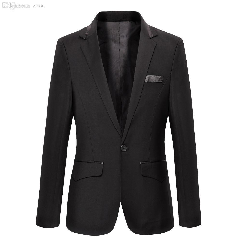 Compre Al Por Mayor Trajes De Los Hombres Para La Boda Blazer De Terciopelo  Negro Blazer Casual Trajes Chinos Masculino Traje Homme Chaqueta De Cuero  Para ... c663a520c03