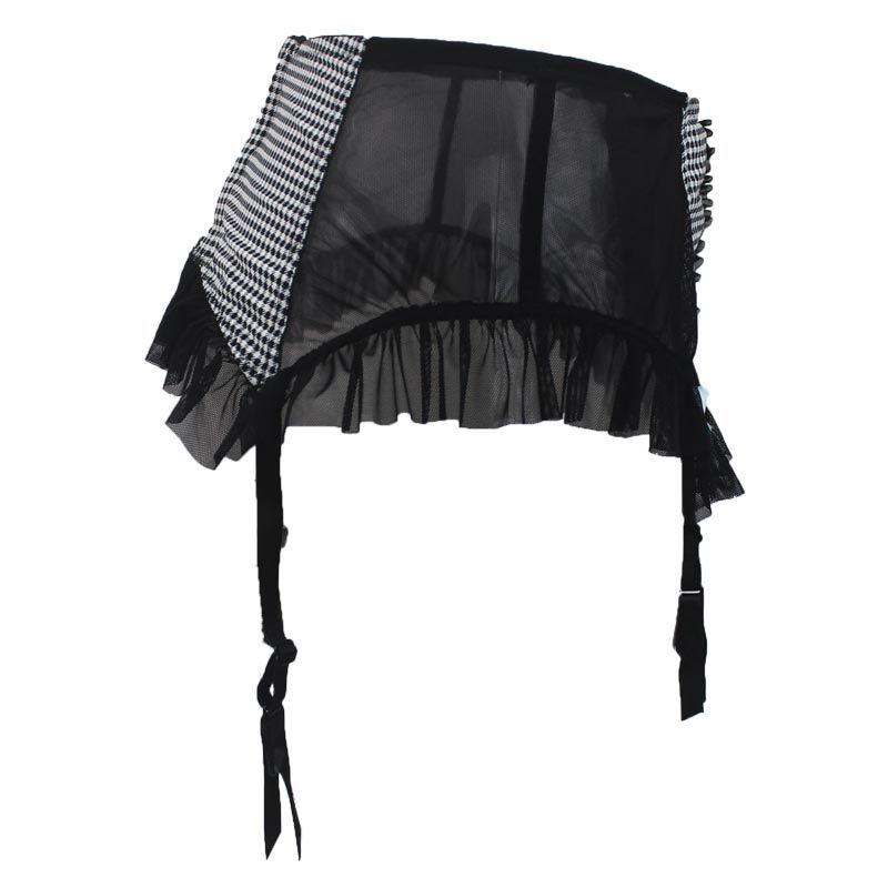 New Fashion Plaid Button Garza Bow Decorazione Donna / Femmina Sexy Giarrettiere Cinture Calze, Clip di Metallo / Fibbia Lingerie GA1034