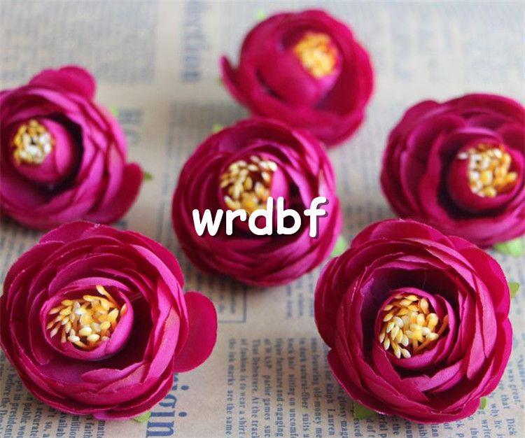 Silk Camellia Flower Head Dia. 4cm Artificial Flowers Tea Rose Rosebud for DIY Bridal Bouquet Wedding Photograph Props