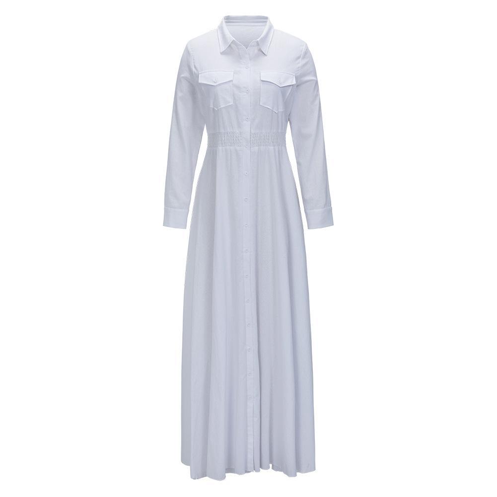 Women Fashion Turn-down Collor Buttons Down White Dress Front Pockets High Waist Big Swing Slim Tunic Maxi Long Dresses