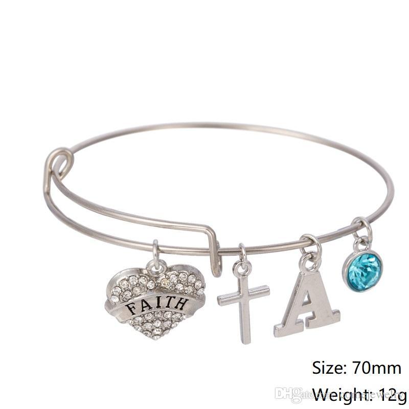 Myshape Cool Fashion Stainless Steel DIY Charms Bracelet Diameter 70mm Blue Crystal Heart Faith Letter A Cross Pendant Bangle Wristbands