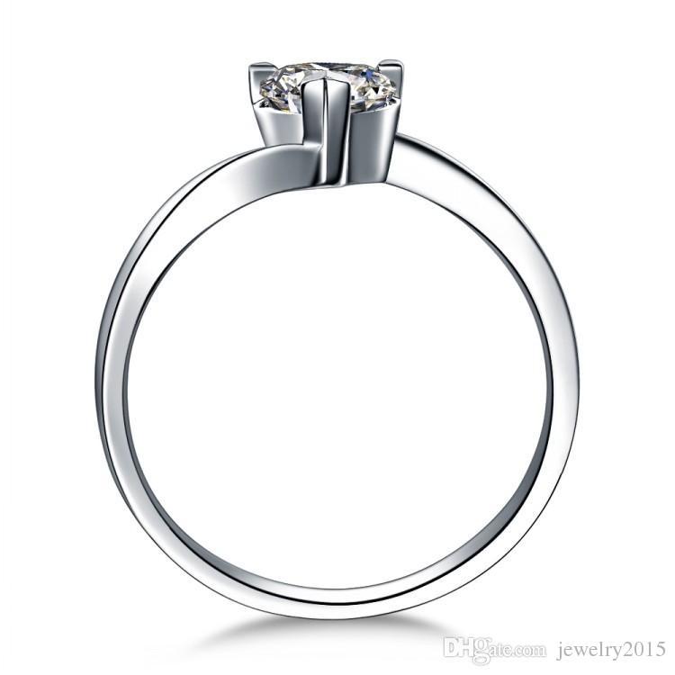 100% 925 ayar gümüş Sıcak Satış 18 K Altın Kaplama 1 ct SONA simüle elmas Nişan yüzükleri, kadınlar için gümüş yüzük