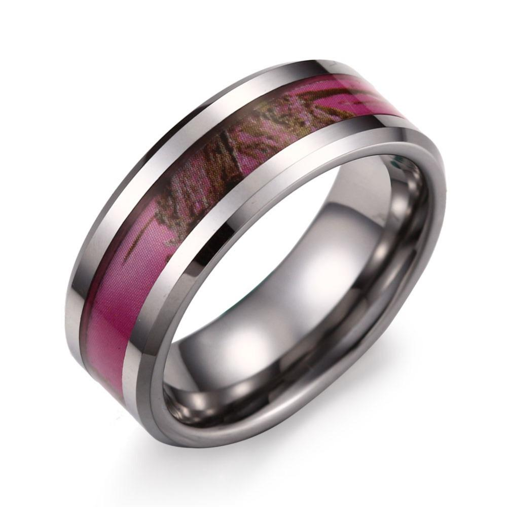 pink engagement camo wedding camouflage ring rings
