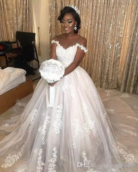 2017 Wedding Dresses African Off Shoulder Illusion Lace Applique Beading Short Sleeves Court Train Tulle Plus Size Formal Bridal Gowns