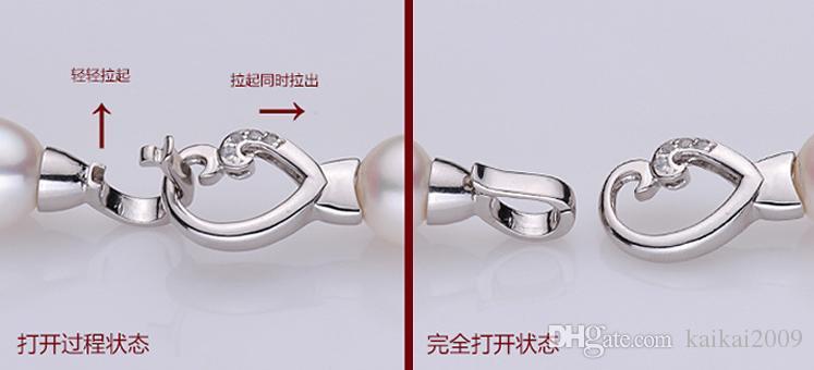 Оптовая красивый жемчуг ювелирные изделия аксессуары натуральный жемчуг ожерелье браслет 925 серебряная пряжка любовь YPJ4