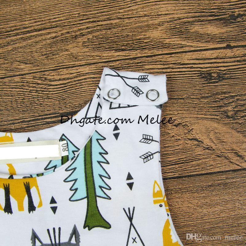 Ins primavera cor crianças impressão de raposa de ouro Macacões bebê infantil algodão evergreen árvores impressão completa Romper Bodysuit flecha Macacões 0-2years
