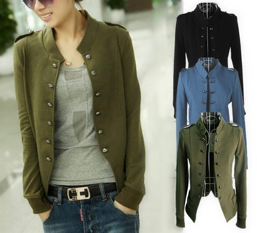 Black/Blue/Army Green Casual Outerwear 2014 Female Coats Womens ...