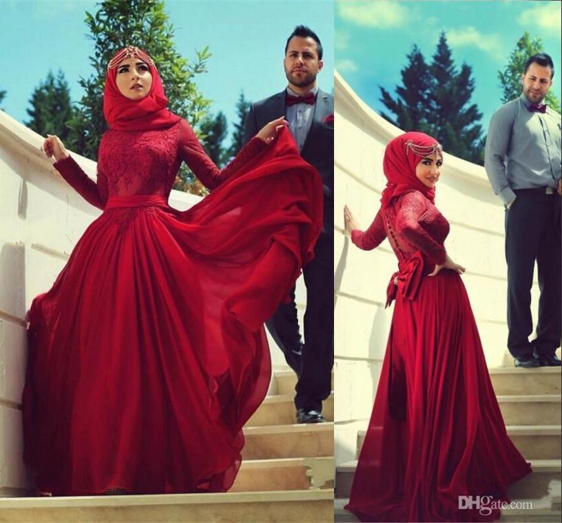 Großhandel 2015 Hijab Hochzeits Kleider Burgund Rote Spitze Lange ...