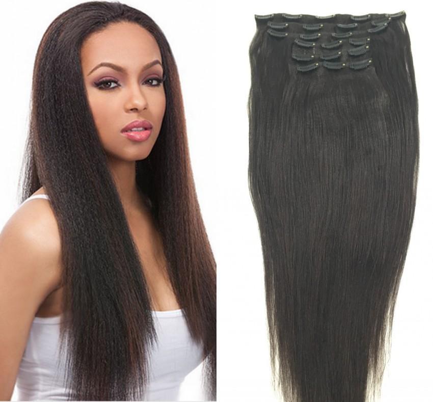 8inch 30inch Full Head Yaki Clip In Human Hair Extensions Kinky