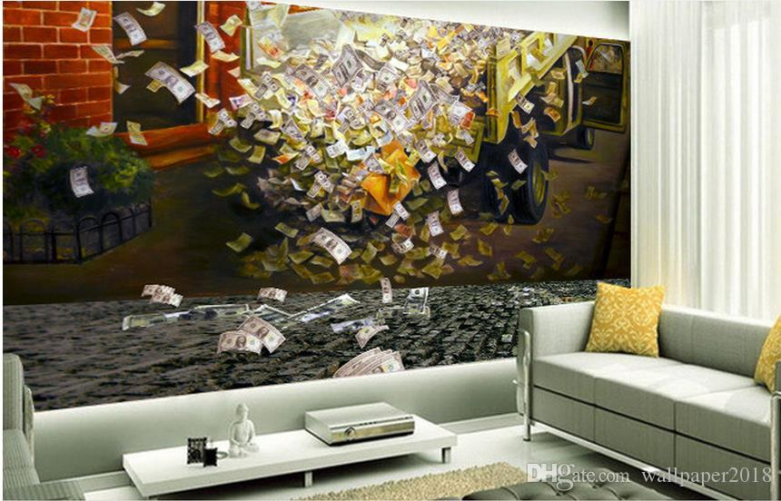 Three-dimensional RMB PIPE Chinese wall modern wallpaper for living room
