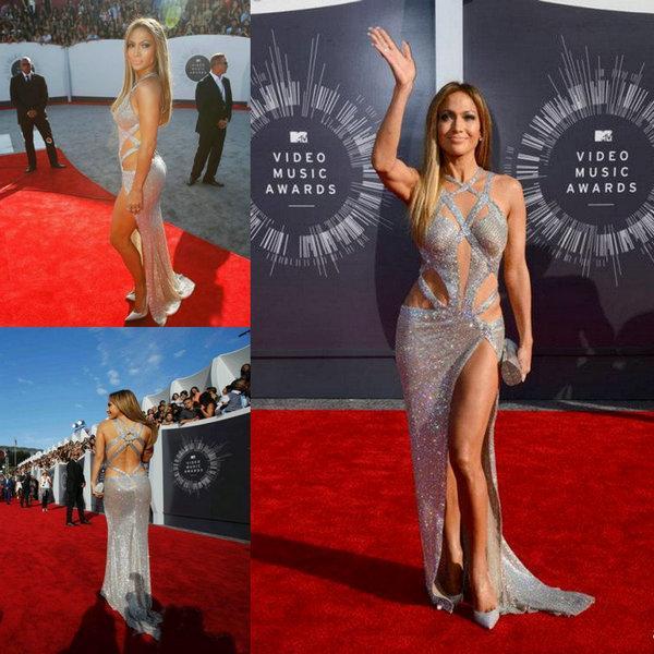 Jennifer Lopez Acessível Vestidos de baile luxuoso sexy com Criss tiras cruzadas Dividir Lantejoula Sem Costas de prata vestidos de celebridade do tapete vermelho