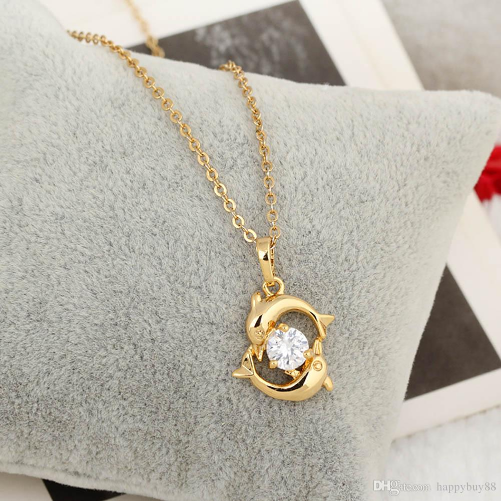 Wholesale New Fashion Girls 18k Gold Jewelry Playing Necklace