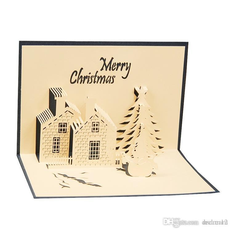 Merry Christmas Greeting Cards 3d Paper Cutting Castle Tree Snowman Postcard Hand Made Blessing Art Crafts 240118 E Greetings Free