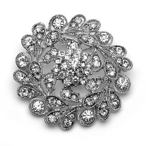 2 Inch Vintage Style Rhodium Silver Plated Clear Rhinestone Floral Wedding Diamante Brooch Bridesmaid Pins