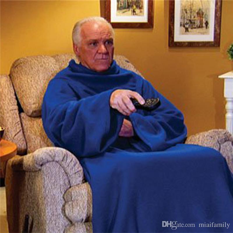 Weiche warme Fleece Snuggie Decke Robe Umhang mit gemütlichen Ärmeln tragbar Ärmel Decke tragbare Decke 3 Farben DHL frei