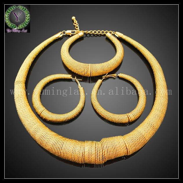 2018 Saudi Fashion Design Alloy Dubai Gold Round Jewelry Set Crystal