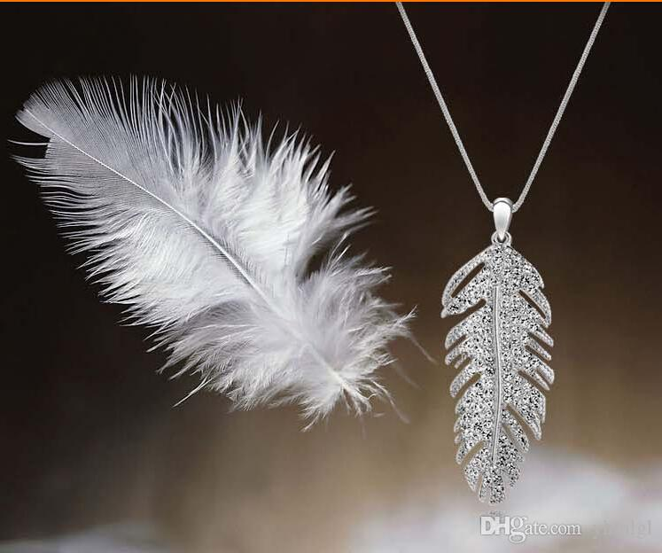 Мода рождественский праздник продажа 18k позолоченные перо дизайн горный хрусталь австрийский Кристалл ювелирные наборы для женщин Бесплатная доставка
