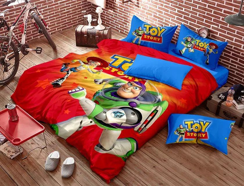 Toy Story Bedding Bedding Set Red Blue Kids Cartoon Queen Size ... : toy story quilt cover set - Adamdwight.com