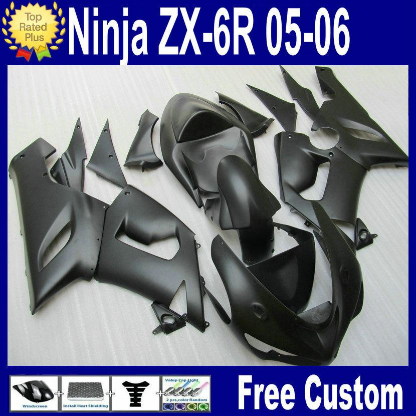 HOT SALE! Matte Black Bodywork fairing kit for Kawasaki ZX6R fairings 2005 2006 Ninja 636 ZX-6R 05 06 Plastic parts