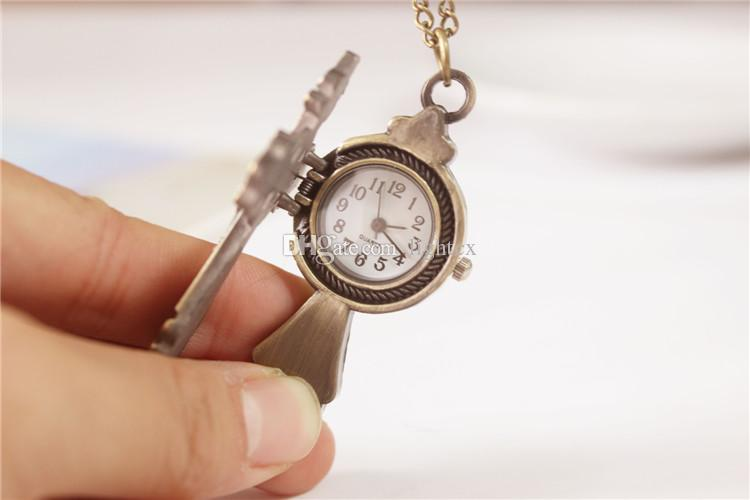 High Quality Unique Antique Vintage Bronze Cross Pocket Watch for Women Children New Retro Watch Necklace Christmas gift
