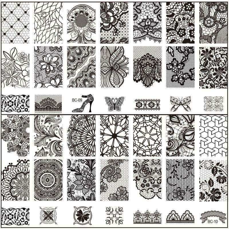 New Black Flower Lace 612CM Nail Stamping Plates Konad Art Manicure Template Stamp Tools Easy Arts From Huiwhale