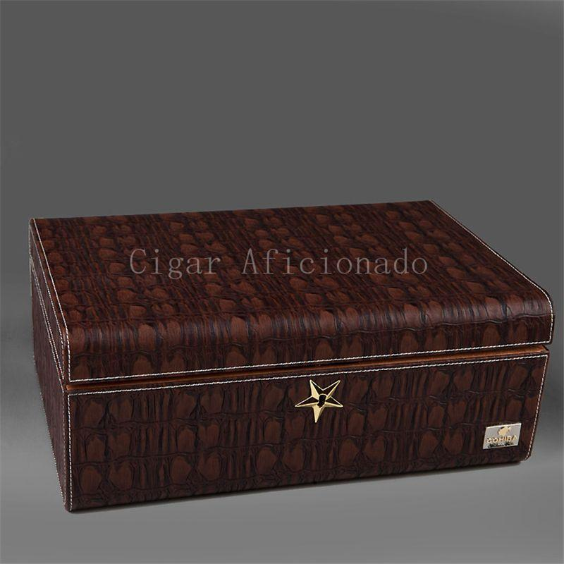 cohiba chocolate crocodile leather cedar wood cigar humidor doubledeck storage box w star lock dedicated hygrometer humidifier
