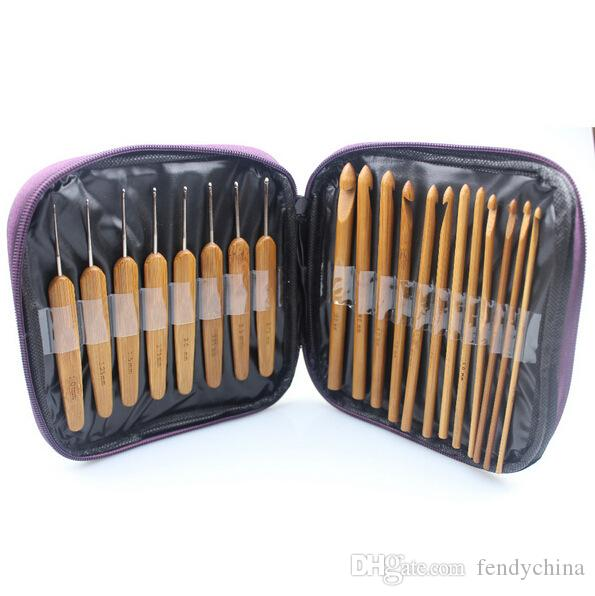 Bamboo Crochet Hooks Needles Knit Weave Craft Yarn Sewing Tools Knitting Bamboo Crochet Hook Set with Case