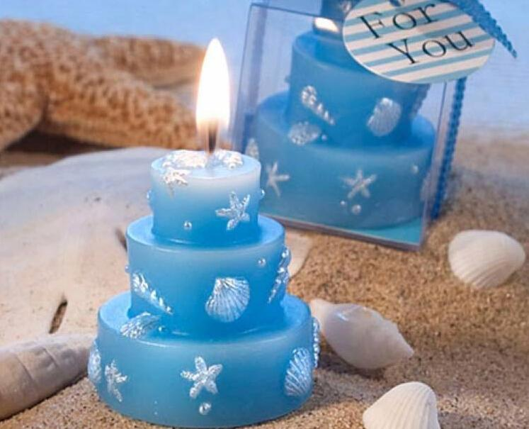 Blue 3 Layer Cake Candle For Wedding Party Birthday Souvenirs Gifts Favor