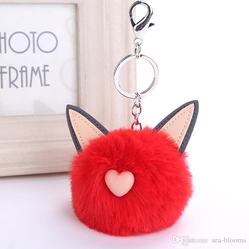 Commercio all'ingrosso carino orecchie di gatto amore cuore imitazione rex pelliccia di coniglio lanuginoso palla portachiavi pendente pendente appeso portachiavi 16 stili dhl libero d275q