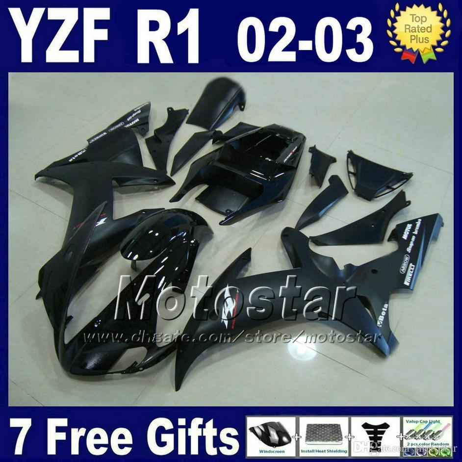 Injection fairings set for Yamaha 2002 2003 YZF R1 matte & glossy black bodywork parts 02 03 r1 fairing kits R13MG 7 gifts