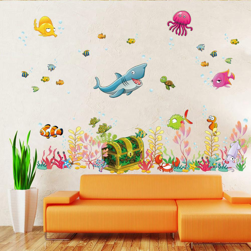 Kids room wall decor stickers - 2015 New Sea World Childrens Room Wall Sticker Ocean World Cartoon Wall Decal Kids Living Room Wall Decoration Home Decor Wall Applique Wall Appliques From