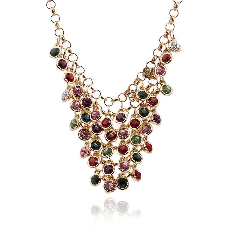 Femmes À La Mode Multi Layer Crystal Glands Foulard Bib Déclaration Collier Bijoux 3 Couleurs Choisir