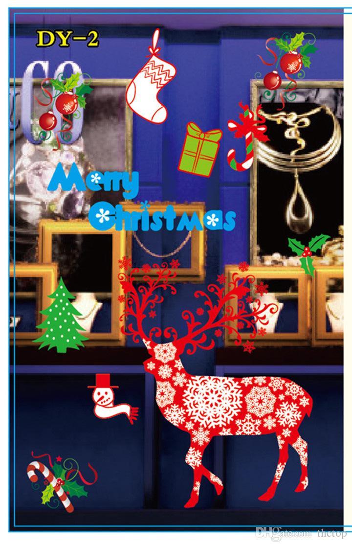 Christmas Glass Showcase Electrostatic Stickers Snowflake Santa Claus Wapiti Wall Sticker Colorful Showcase X-mas Decoration Mix 8 Styles