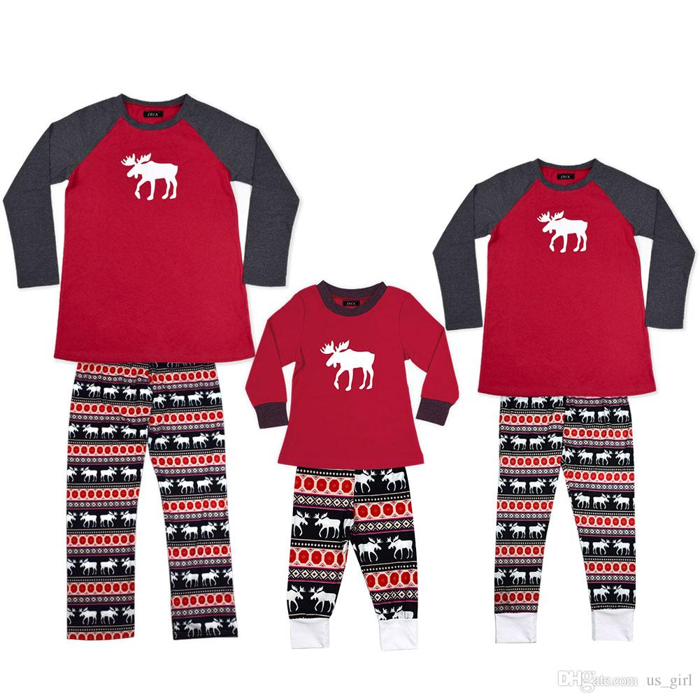 48aac4f3aa ... Snowflake Striped  outlet online 60d1c f2c25 2018 INS XMas Christmas  Kids Adult Family Matching Pajamas Set Xmas Deer ...
