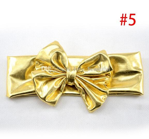 2015 new Baby Girl Cotton Head wrap Gold Big Bows Headbands Hair Band blend fabric elastic Knot Headbands Baby Hair accessories