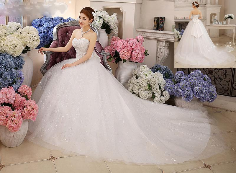 a77cb6580102 2016 New Fashion Girl Hot Spring And Summer Wedding Bride Long Tail Bra  Straps Lace Cathedral/ Royal Train Bow Embroidery Wedding Dress Wedding  Gown ...