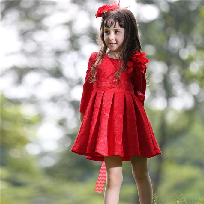 Pettigirl Retail Autumn Girls Princess Dress Jacquard Girl Flower Dress With Sash And Floral For Children Clothing GD80615-1F