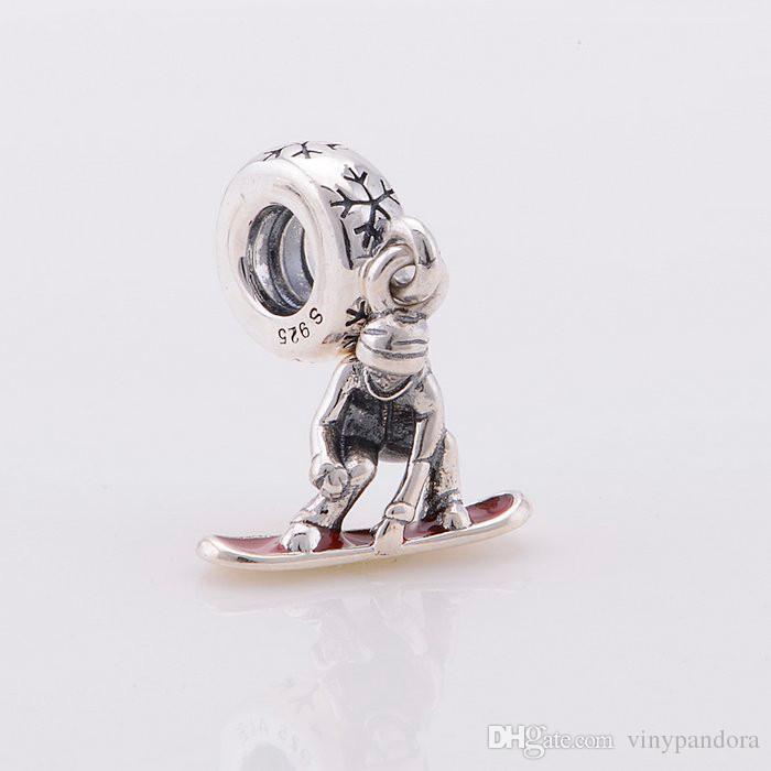 100% 925 Ayar Gümüş Snowboard Dangle Boncuk Kırmızı Emaye Avrupa Pandora Takı Charm Bilezikler Uyar