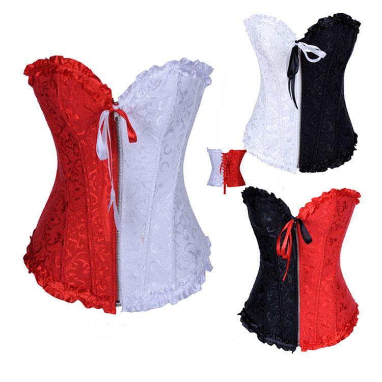 VENTE CHAUDE S-6XL Femmes Corsets de Dentelle Noir Blanc Rouge Broderie Corset Pas Cher Zipper Avant Overbust Sexy Bustier Avec Lingerie